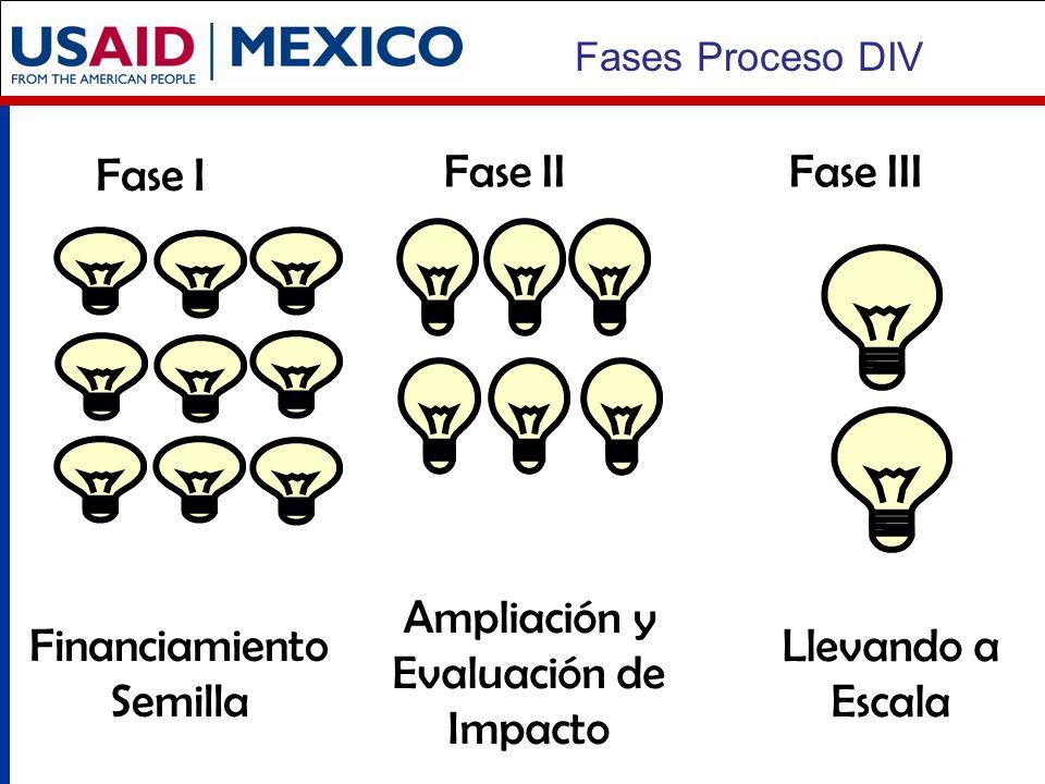 Fase I Fase IIFase III Financiamiento Semilla Llevando a Escala Fases Proceso DIV Ampliación y Evaluación de Impacto
