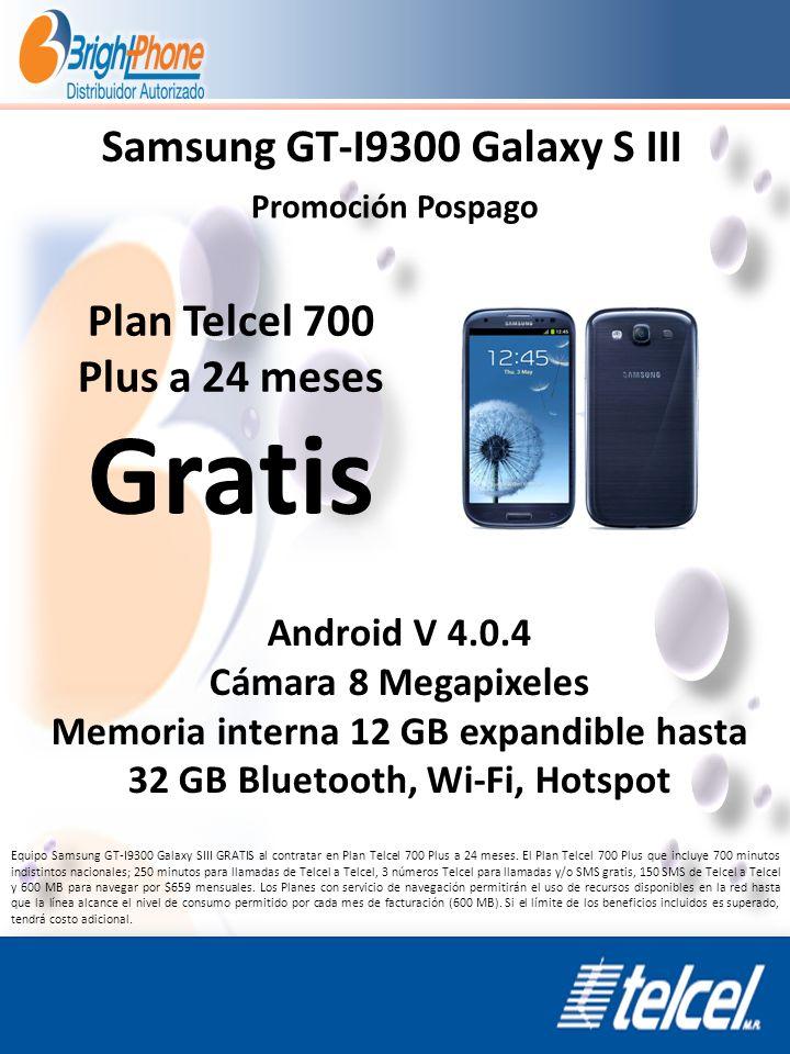 Samsung GT-I9300 Galaxy S III Promoción Pospago Android V 4.0.4 Cámara 8 Megapixeles Memoria interna 12 GB expandible hasta 32 GB Bluetooth, Wi-Fi, Ho