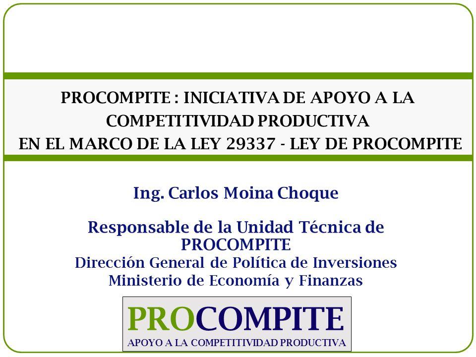 La Ley 29337 – Ley de PROCOMPITE permite a los Gobiernos Regionales y Locales implementar Fondos Concursables para el Co-financiamiento de Propuestas Productivas (Planes de Negocios) presentados por una organización de pequeños productores de cadenas productivas que el gobierno subnacional haya priorizado.