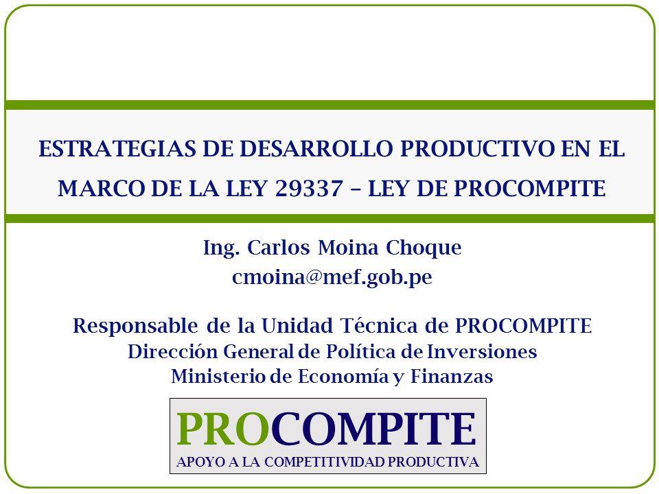 PROCOMPITE APOYO A LA COMPETITIVIDAD PRODUCTIVA ESTRATEGIAS DE DESARROLLO PRODUCTIVO EN EL MARCO DE LA LEY 29337 – LEY DE PROCOMPITE Ing. Carlos Moina