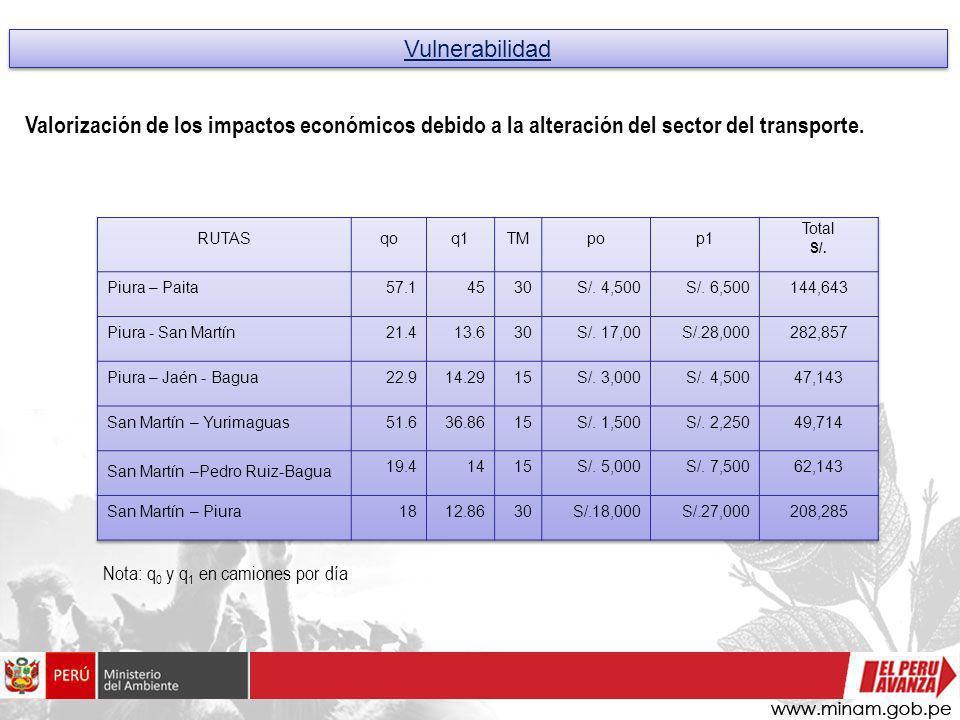 Vulnerabilidad Nota: q 0 y q 1 en camiones por día Valorización de los impactos económicos debido a la alteración del sector del transporte.
