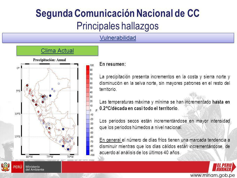 Segunda Comunicación Nacional de CC Principales hallazgos Vulnerabilidad Clima Actual En resumen: La precipitación presenta incrementos en la costa y