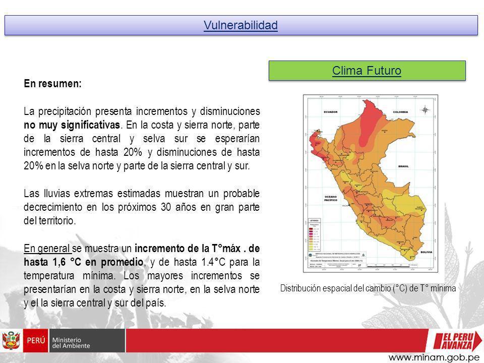 Vulnerabilidad Clima Futuro Distribución espacial del cambio (°C) de T° mínima En resumen: La precipitación presenta incrementos y disminuciones no mu