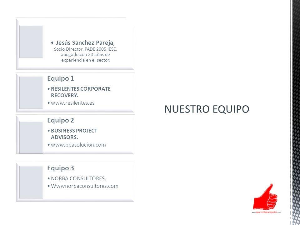 Jesús Sanchez Pareja, Socio Director, PADE 2005 IESE, abogado con 20 años de experiencia en el sector. Equipo 1 RESILENTES CORPORATE RECOVERY. www.res