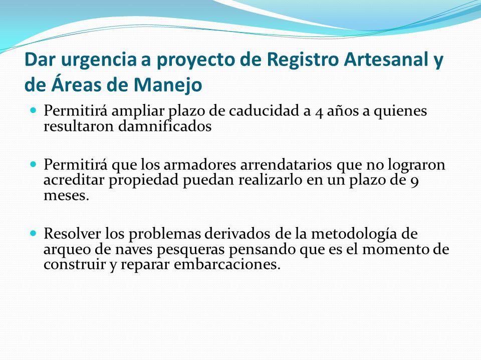 Dar urgencia a proyecto de Registro Artesanal y de Áreas de Manejo Permitirá ampliar plazo de caducidad a 4 años a quienes resultaron damnificados Per