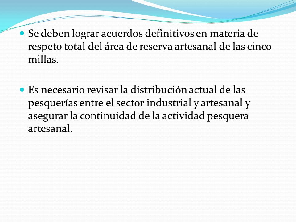 Se deben lograr acuerdos definitivos en materia de respeto total del área de reserva artesanal de las cinco millas. Es necesario revisar la distribuci