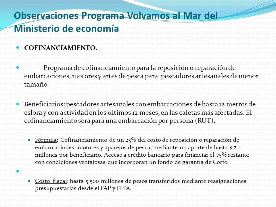 Observaciones Programa Volvamos al Mar del Ministerio de economía COFINANCIAMIENTO. Programa de cofinanciamiento para la reposición o reparación de em