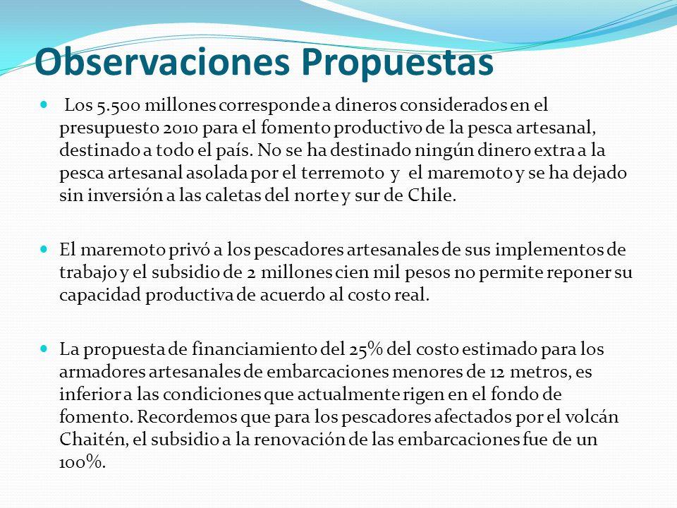 Observaciones Propuestas Los 5.500 millones corresponde a dineros considerados en el presupuesto 2010 para el fomento productivo de la pesca artesanal