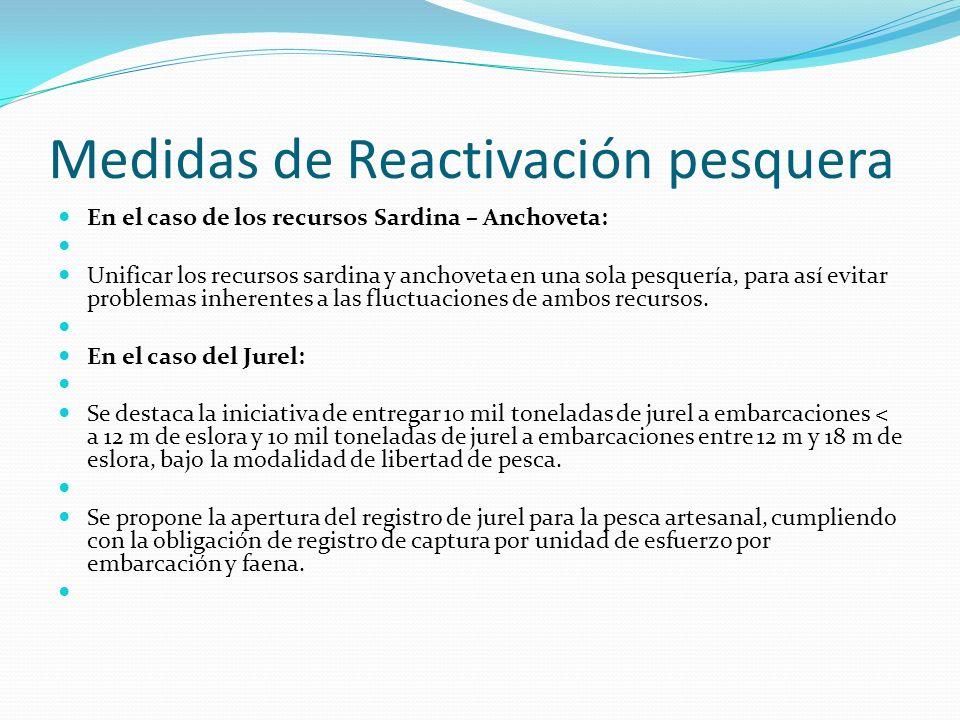 Medidas de Reactivación pesquera En el caso de los recursos Sardina – Anchoveta: Unificar los recursos sardina y anchoveta en una sola pesquería, para así evitar problemas inherentes a las fluctuaciones de ambos recursos.