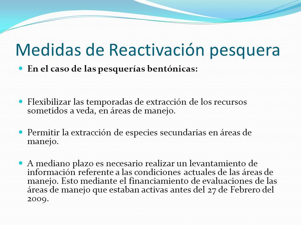 Medidas de Reactivación pesquera En el caso de las pesquerías bentónicas: Flexibilizar las temporadas de extracción de los recursos sometidos a veda, en áreas de manejo.
