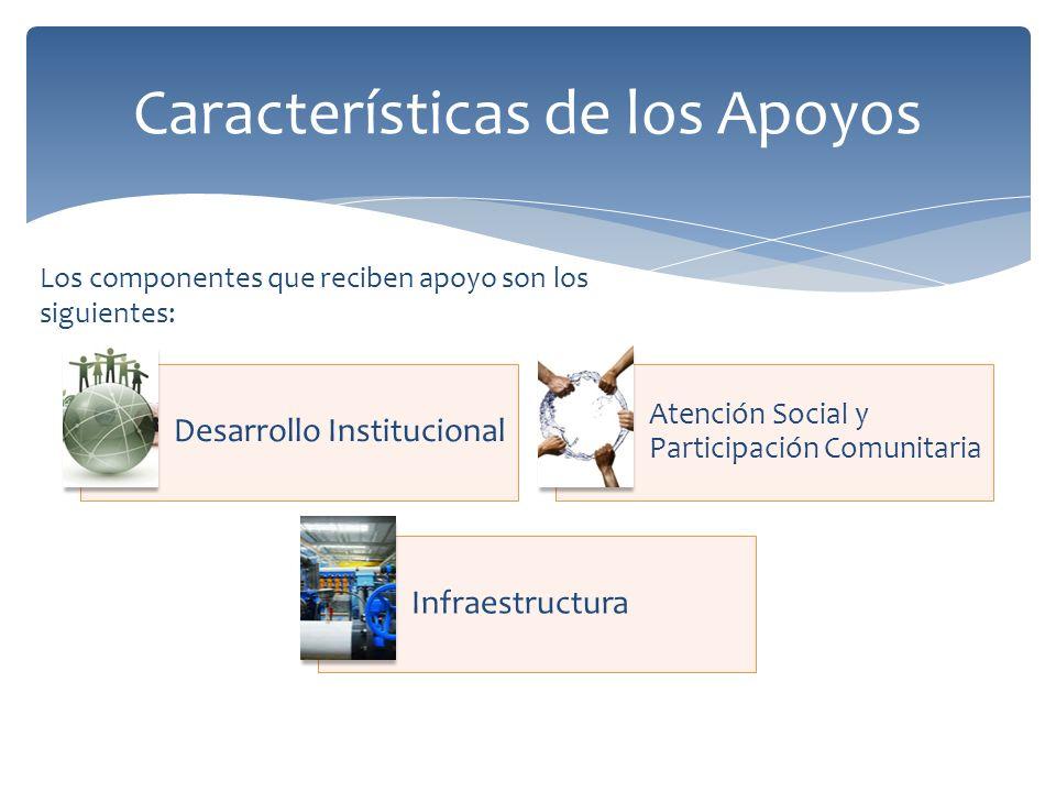 Desarrollo Institucional Atención Social y Participación Comunitaria Infraestructura Características de los Apoyos Los componentes que reciben apoyo son los siguientes: