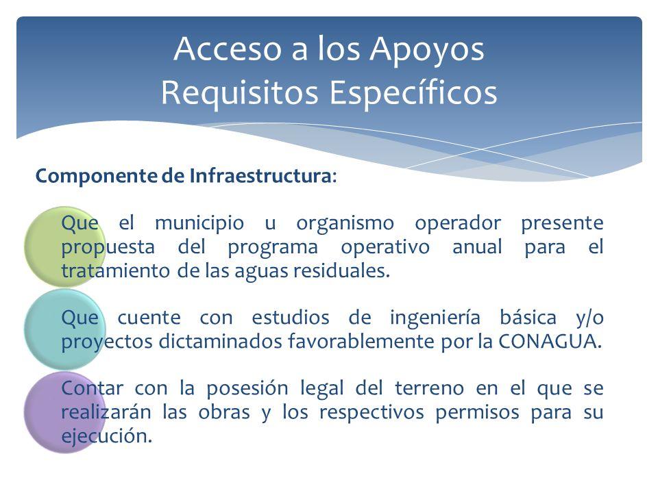Acceso a los Apoyos Requisitos Específicos Que el municipio u organismo operador presente propuesta del programa operativo anual para el tratamiento de las aguas residuales.