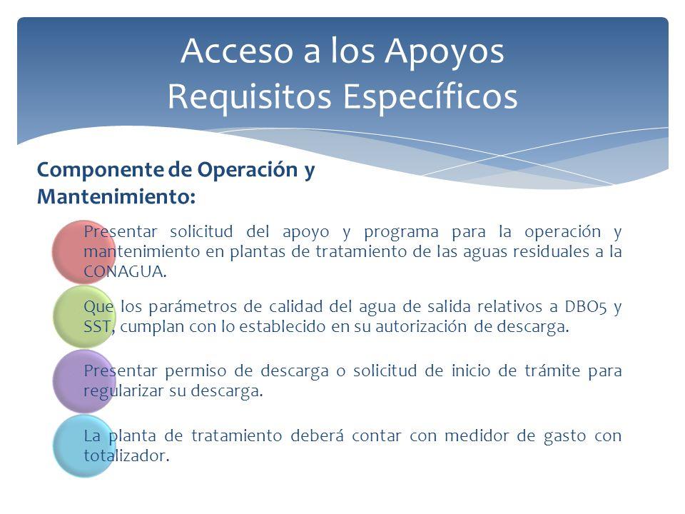 Acceso a los Apoyos Requisitos Específicos Componente de Operación y Mantenimiento: Presentar solicitud del apoyo y programa para la operación y mantenimiento en plantas de tratamiento de las aguas residuales a la CONAGUA.