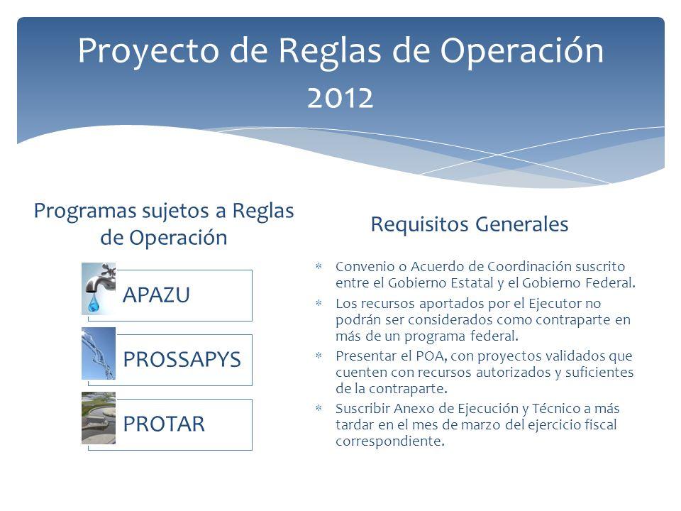 Programas sujetos a Reglas de Operación Requisitos Generales Convenio o Acuerdo de Coordinación suscrito entre el Gobierno Estatal y el Gobierno Federal.
