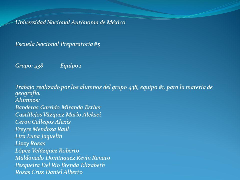 Universidad Nacional Autónoma de México Escuela Nacional Preparatoria #5 Grupo: 438 Equipo 1 Trabajo realizado por los alumnos del grupo 438, equipo #