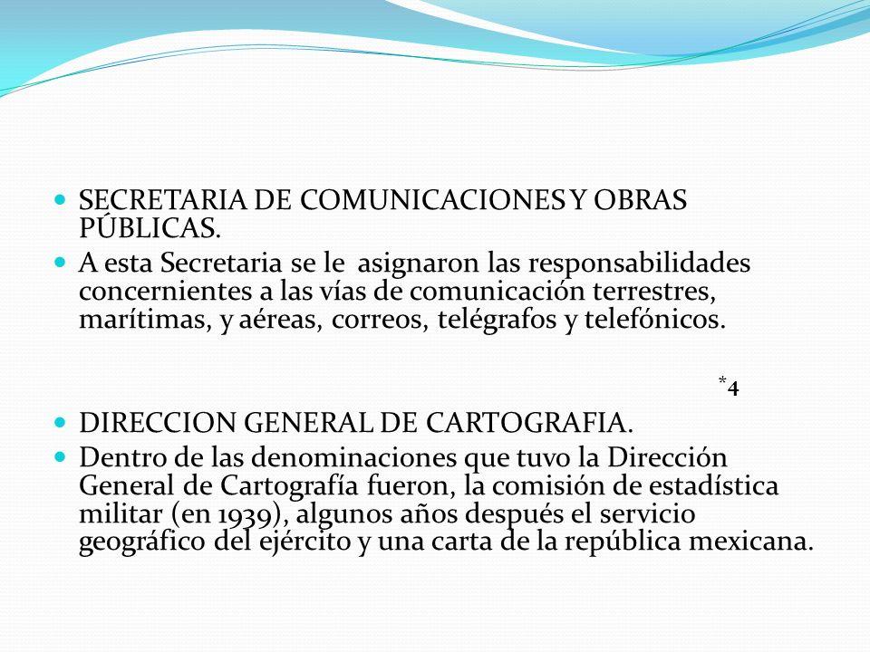 SECRETARIA DE COMUNICACIONES Y OBRAS PÚBLICAS. A esta Secretaria se le asignaron las responsabilidades concernientes a las vías de comunicación terres