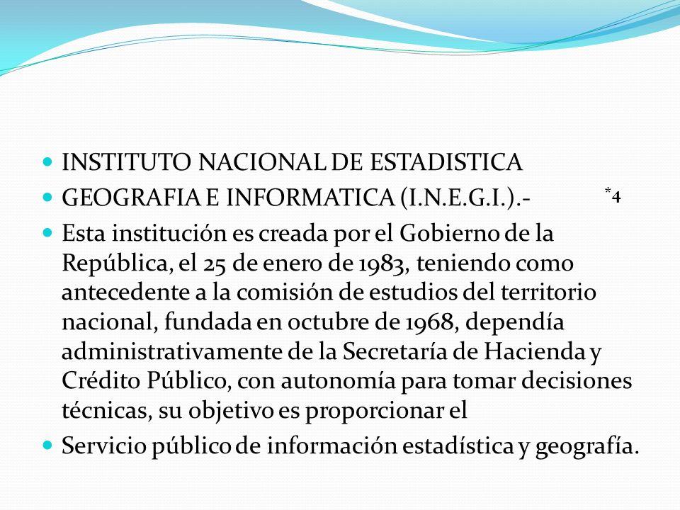 INSTITUTO NACIONAL DE ESTADISTICA GEOGRAFIA E INFORMATICA (I.N.E.G.I.).- Esta institución es creada por el Gobierno de la República, el 25 de enero de