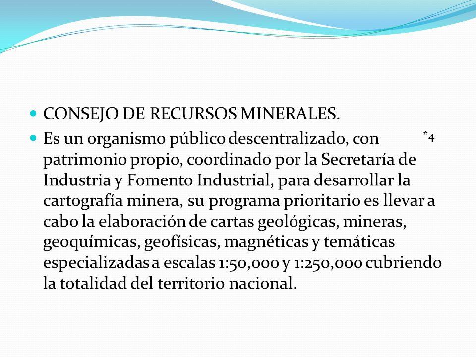 CONSEJO DE RECURSOS MINERALES. Es un organismo público descentralizado, con patrimonio propio, coordinado por la Secretaría de Industria y Fomento Ind