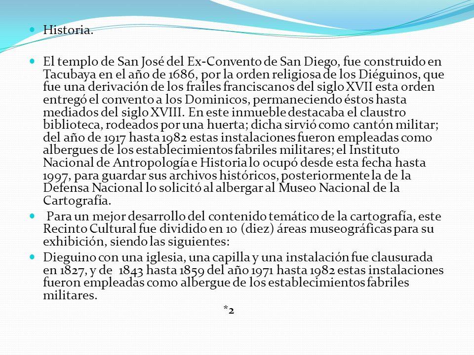 Historia. El templo de San José del Ex-Convento de San Diego, fue construido en Tacubaya en el año de 1686, por la orden religiosa de los Diéguinos, q