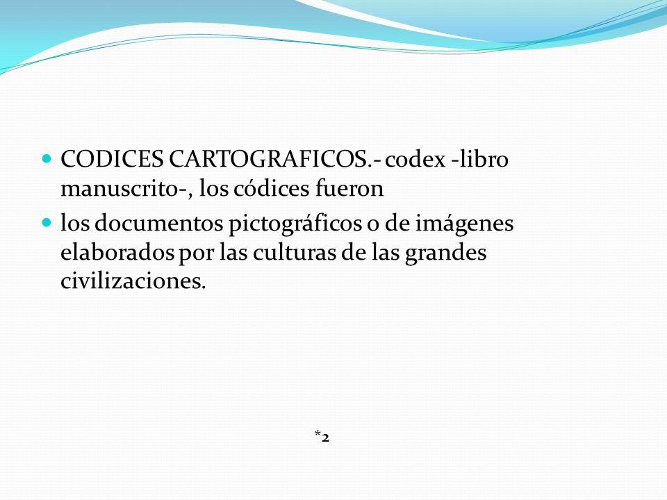 CODICES CARTOGRAFICOS.- codex -libro manuscrito-, los códices fueron los documentos pictográficos o de imágenes elaborados por las culturas de las gra