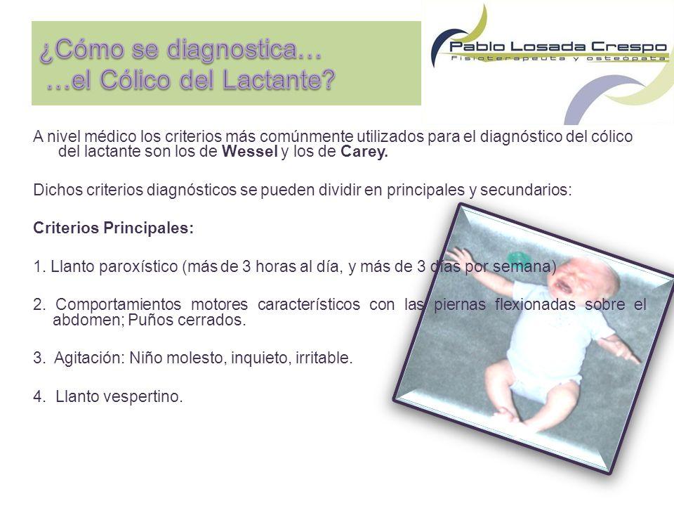A nivel médico los criterios más comúnmente utilizados para el diagnóstico del cólico del lactante son los de Wessel y los de Carey.
