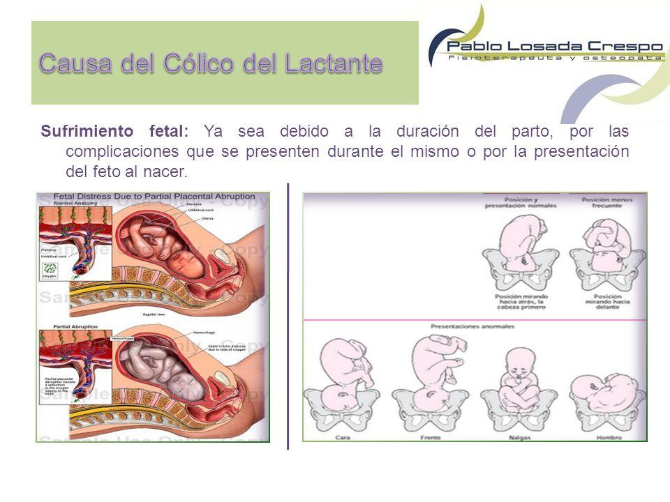 Sufrimiento fetal: Ya sea debido a la duración del parto, por las complicaciones que se presenten durante el mismo o por la presentación del feto al nacer.