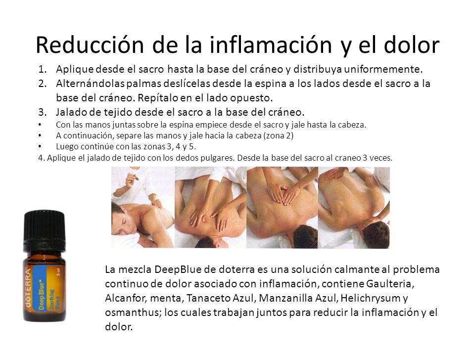 Reducción de la inflamación y el dolor 1.Aplique desde el sacro hasta la base del cráneo y distribuya uniformemente. 2.Alternándolas palmas deslícelas