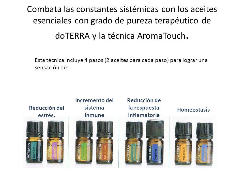 Combata las constantes sistémicas con los aceites esenciales con grado de pureza terapéutico de doTERRA y la técnica AromaTouch. Esta técnica incluye