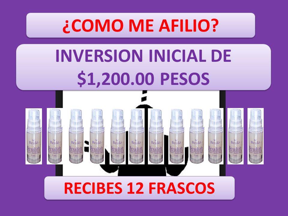 ¿COMO ME AFILIO? INVERSION INICIAL DE $1,200.00 PESOS RECIBES 12 FRASCOS