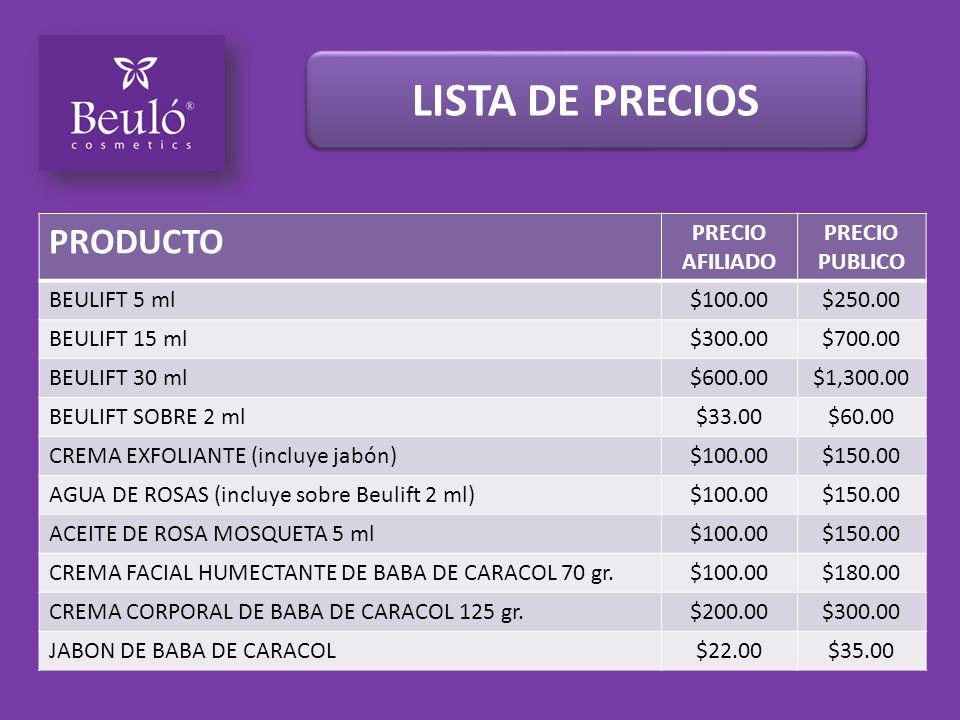 LISTA DE PRECIOS PRODUCTO PRECIO AFILIADO PRECIO PUBLICO BEULIFT 5 ml$100.00$250.00 BEULIFT 15 ml$300.00$700.00 BEULIFT 30 ml$600.00$1,300.00 BEULIFT