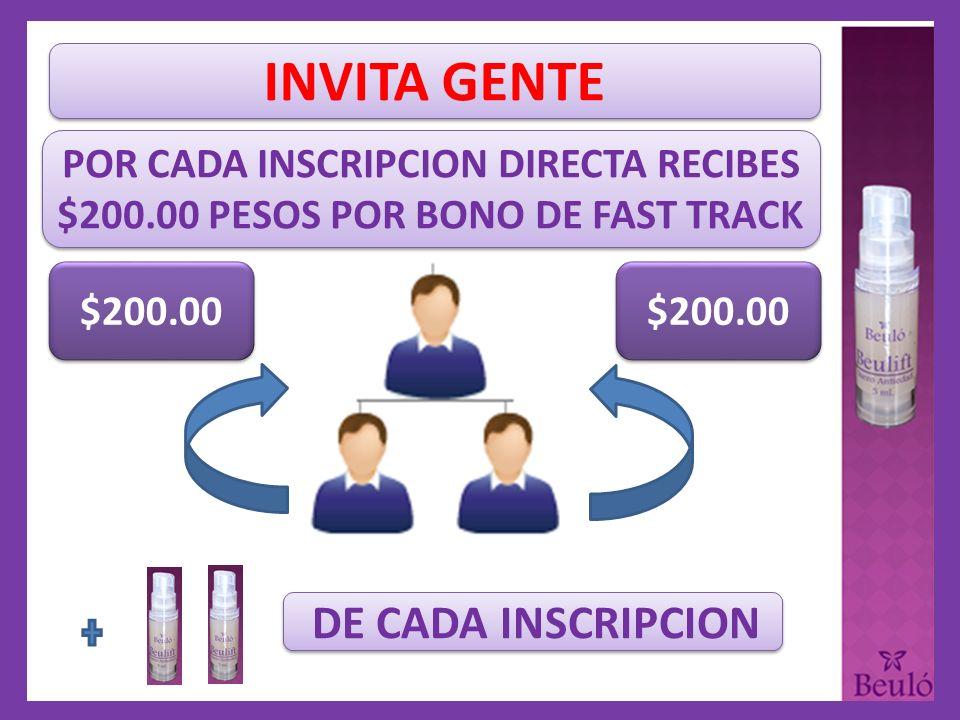 POR CADA INSCRIPCION DIRECTA RECIBES $200.00 PESOS POR BONO DE FAST TRACK $200.00 DE CADA INSCRIPCION INVITA GENTE