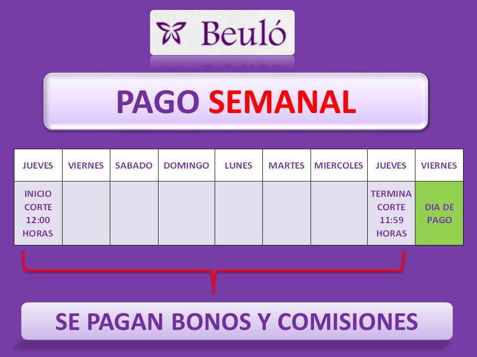 PAGO SEMANAL SE PAGAN BONOS Y COMISIONES