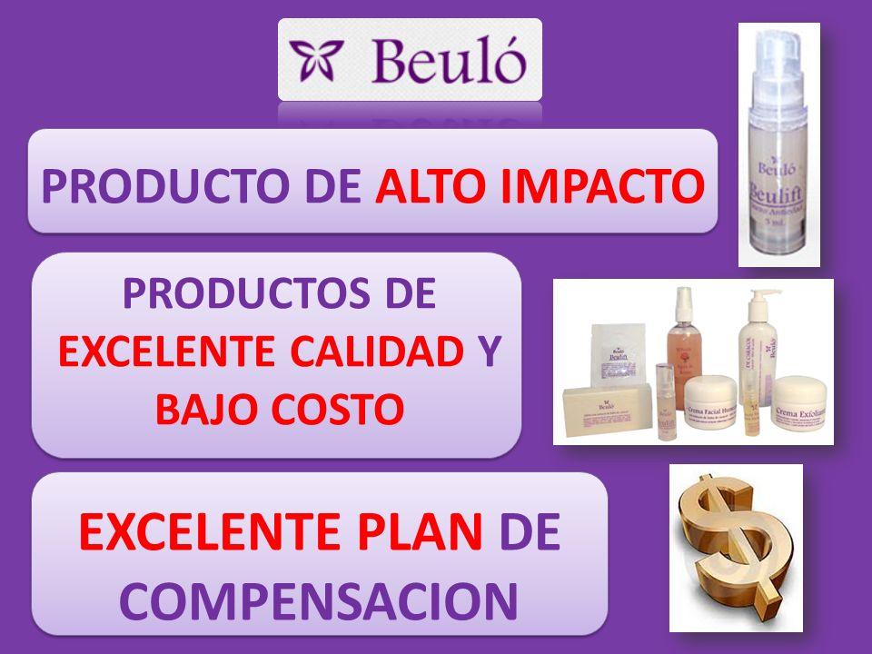 PRODUCTO DE ALTO IMPACTO PRODUCTOS DE EXCELENTE CALIDAD Y BAJO COSTO EXCELENTE PLAN DE COMPENSACION