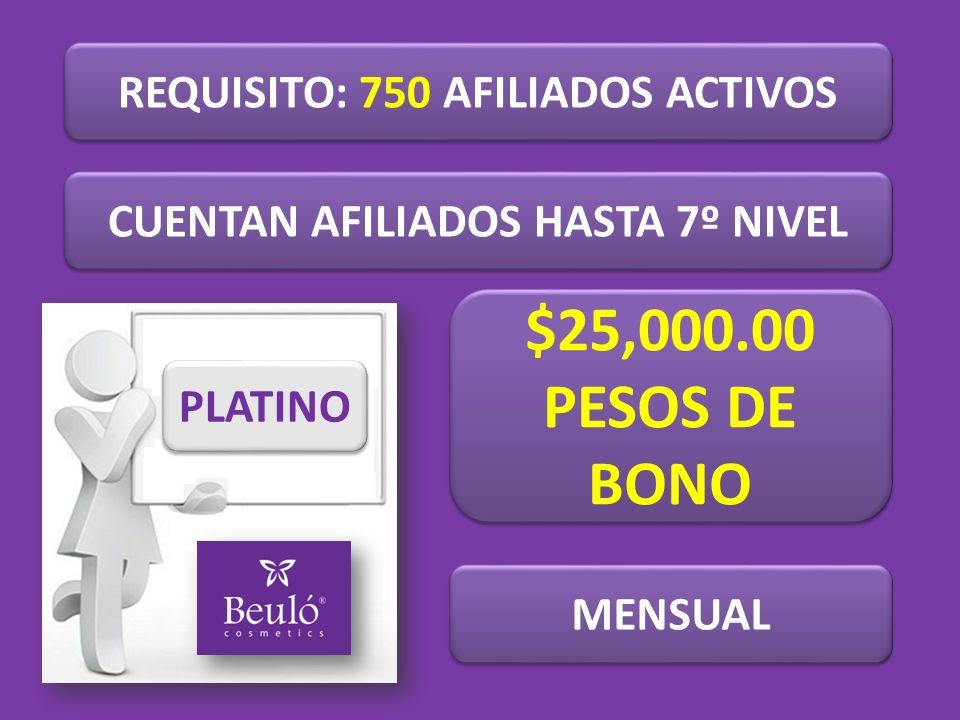 REQUISITO: 750 AFILIADOS ACTIVOS CUENTAN AFILIADOS HASTA 7º NIVEL PLATINO $25,000.00 PESOS DE BONO $25,000.00 PESOS DE BONO MENSUAL