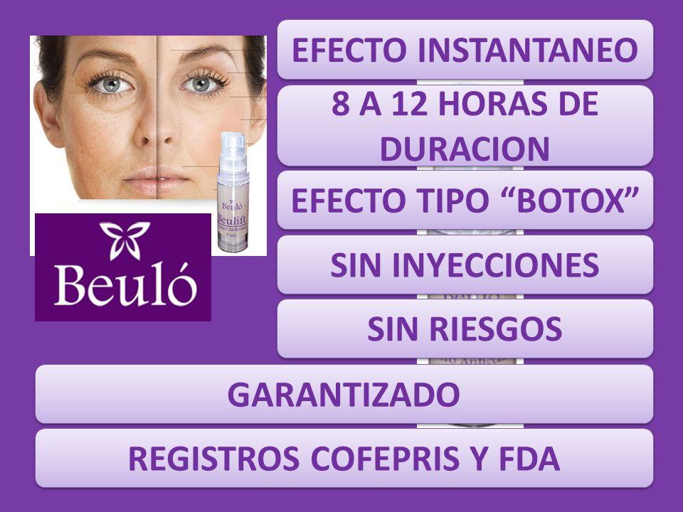 EFECTO INSTANTANEO 8 A 12 HORAS DE DURACION EFECTO TIPO BOTOX SIN RIESGOS SIN INYECCIONES GARANTIZADO REGISTROS COFEPRIS Y FDA