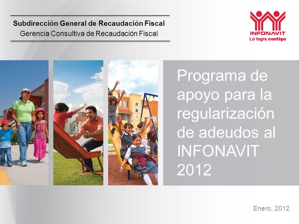 Subdirección General de Recaudación Fiscal Gerencia Consultiva de Recaudación Fiscal Enero, 2012 Programa de apoyo para la regularización de adeudos al INFONAVIT 2012