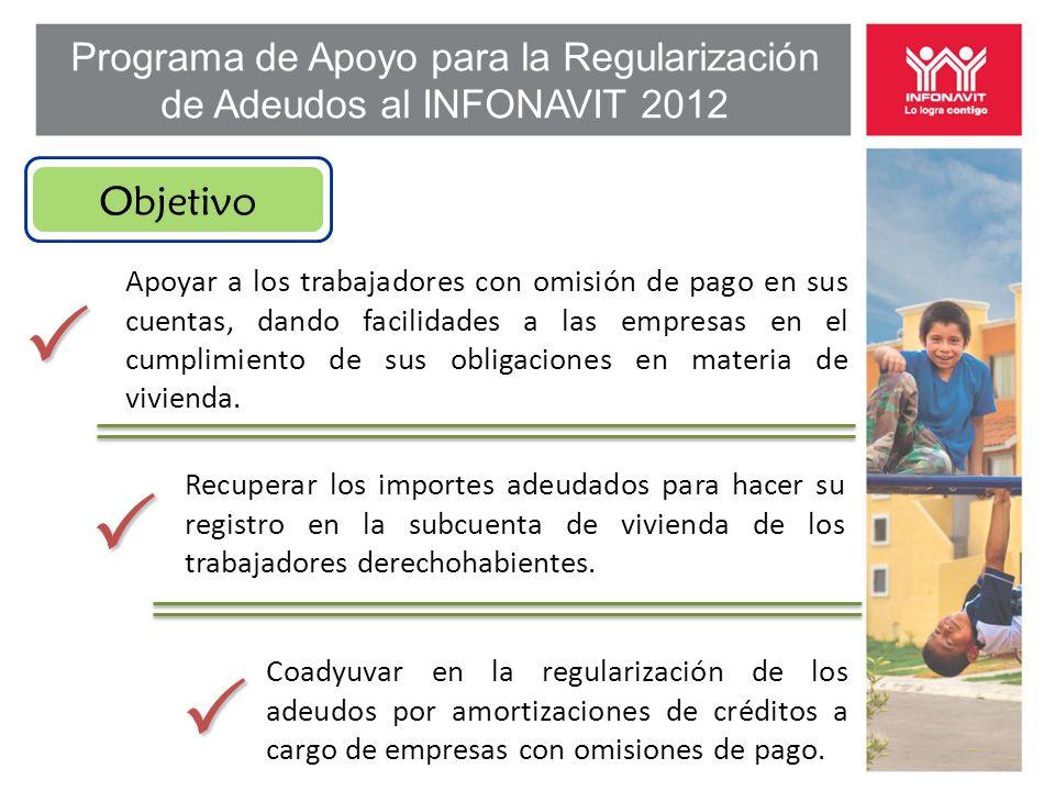 Programa de Apoyo para la Regularización de Adeudos al INFONAVIT 2012 Apoyar a los trabajadores con omisión de pago en sus cuentas, dando facilidades a las empresas en el cumplimiento de sus obligaciones en materia de vivienda.