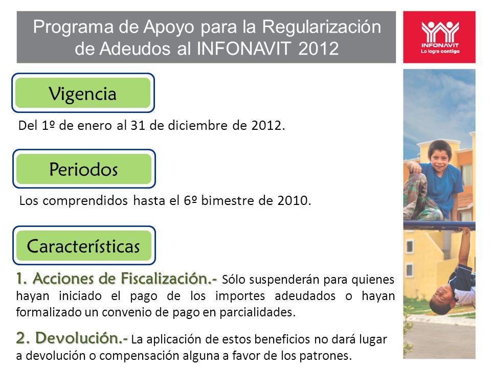 Programa de Apoyo para la Regularización de Adeudos al INFONAVIT 2012 Vigencia Del 1º de enero al 31 de diciembre de 2012.