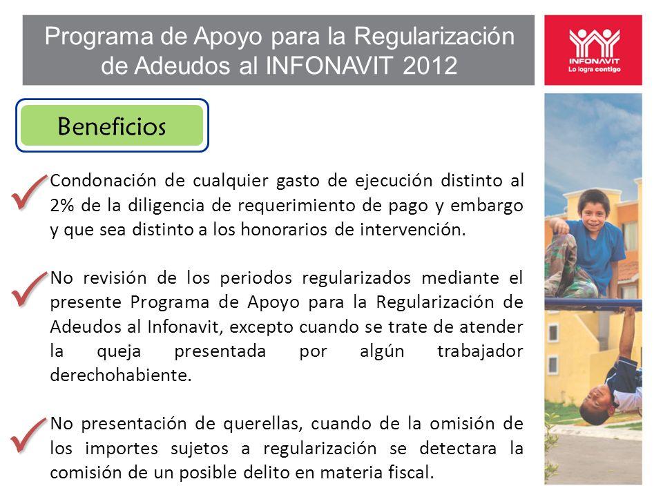 Programa de Apoyo para la Regularización de Adeudos al INFONAVIT 2012 Beneficios Condonación de cualquier gasto de ejecución distinto al 2% de la diligencia de requerimiento de pago y embargo y que sea distinto a los honorarios de intervención.