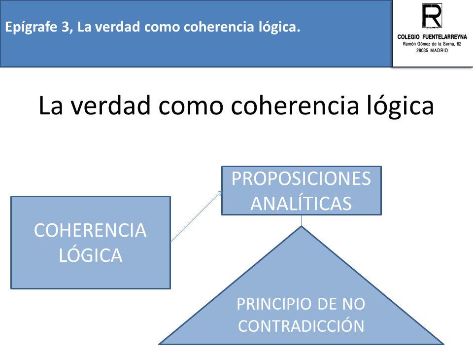 Epígrafe 3, La verdad como coherencia lógica. La verdad como coherencia lógica COHERENCIA LÓGICA PROPOSICIONES ANALÍTICAS PRINCIPIO DE NO CONTRADICCIÓ
