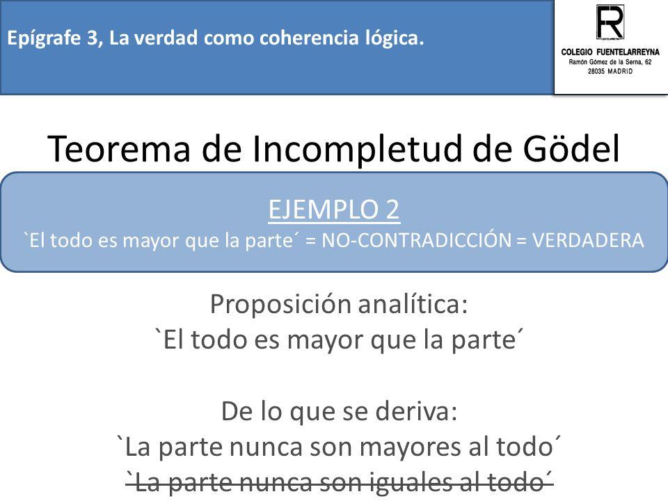 Epígrafe 3, La verdad como coherencia lógica. Teorema de Incompletud de Gödel Proposición analítica: `El todo es mayor que la parte´ De lo que se deri