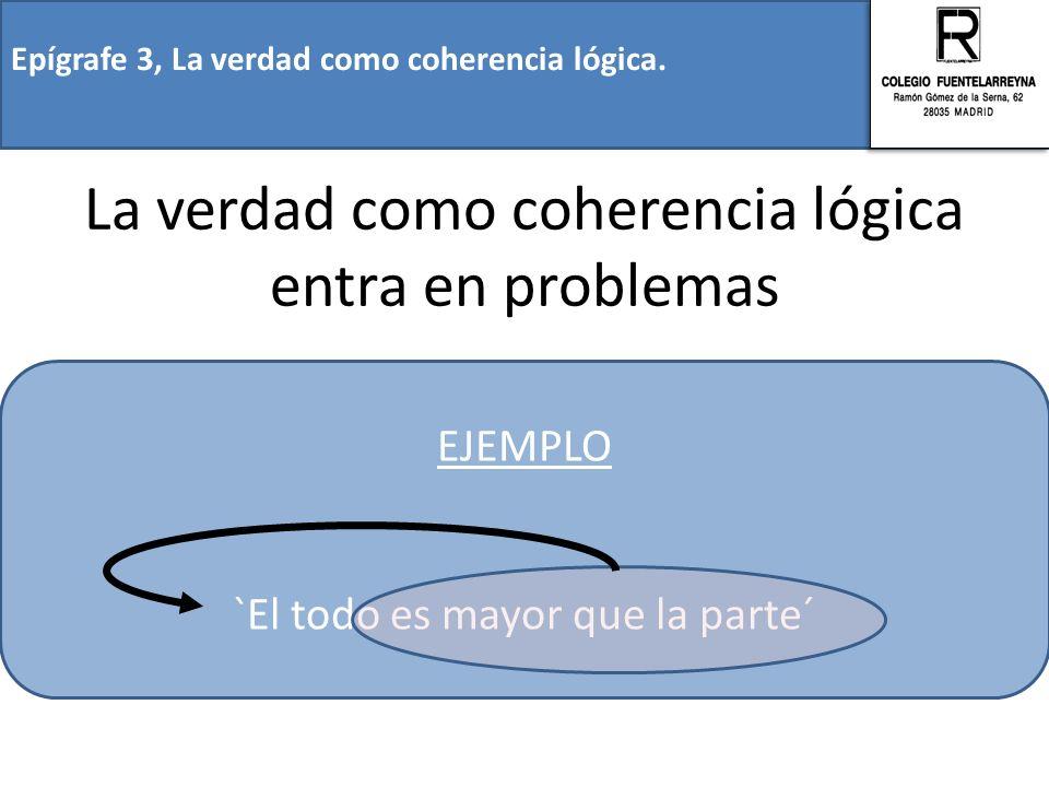 Epígrafe 3, La verdad como coherencia lógica. La verdad como coherencia lógica entra en problemas EJEMPLO `El todo es mayor que la parte´