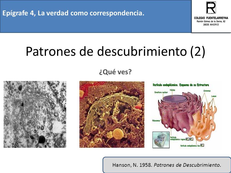 Epígrafe 4, La verdad como correspondencia. Patrones de descubrimiento (2) ¿Qué ves? Hanson, N. 1958. Patrones de Descubrimiento.