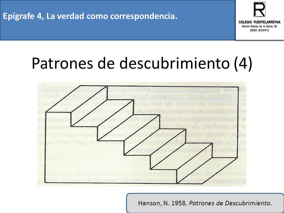 Epígrafe 4, La verdad como correspondencia. Patrones de descubrimiento (4) Hanson, N. 1958. Patrones de Descubrimiento.