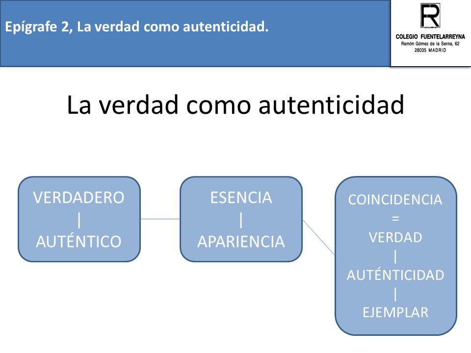 La verdad como autenticidad Epígrafe 2, La verdad como autenticidad. VERDADERO | AUTÉNTICO ESENCIA | APARIENCIA COINCIDENCIA = VERDAD | AUTÉNTICIDAD |