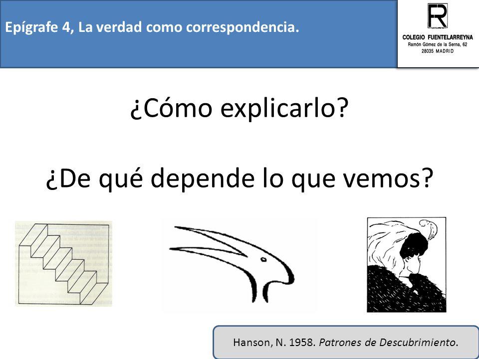 Epígrafe 4, La verdad como correspondencia. ¿Cómo explicarlo? ¿De qué depende lo que vemos? Hanson, N. 1958. Patrones de Descubrimiento.