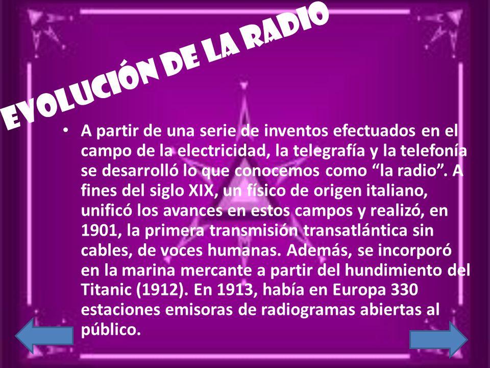 Evolución de la radio A partir de una serie de inventos efectuados en el campo de la electricidad, la telegrafía y la telefonía se desarrolló lo que c