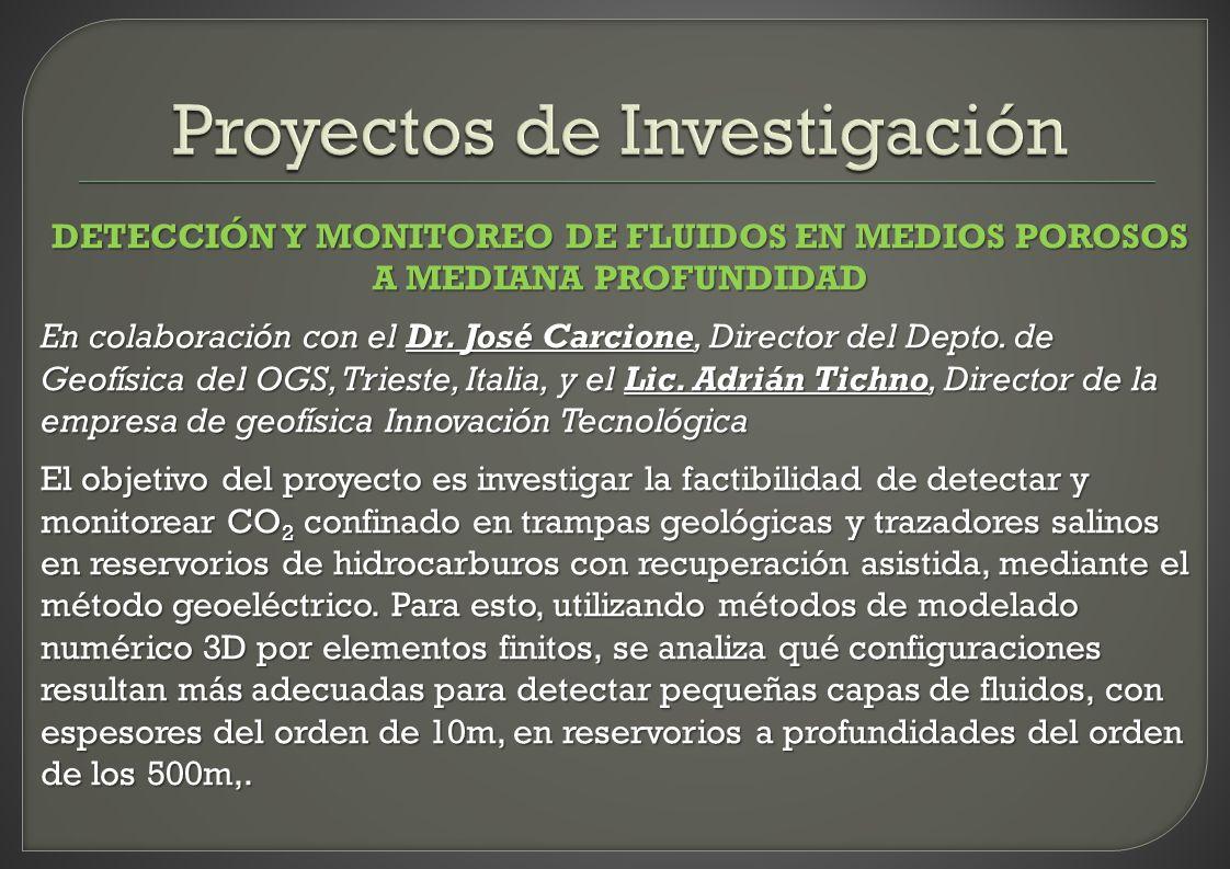DETECCIÓN Y MONITOREO DE FLUIDOS EN MEDIOS POROSOS A MEDIANA PROFUNDIDAD En colaboración con el Dr. José Carcione, Director del Depto. de Geofísica de