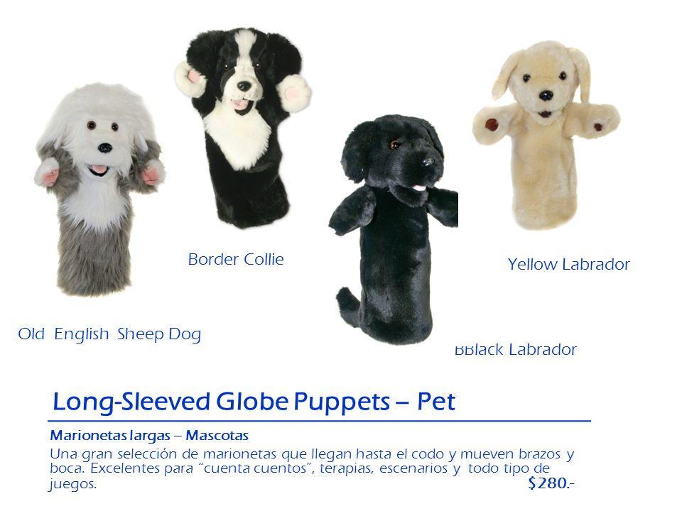 Old English Sheep Dog BBlack Labrador Yellow Labrador Border Collie Long-Sleeved Globe Puppets – Pet Marionetas largas – Mascotas Una gran selección d