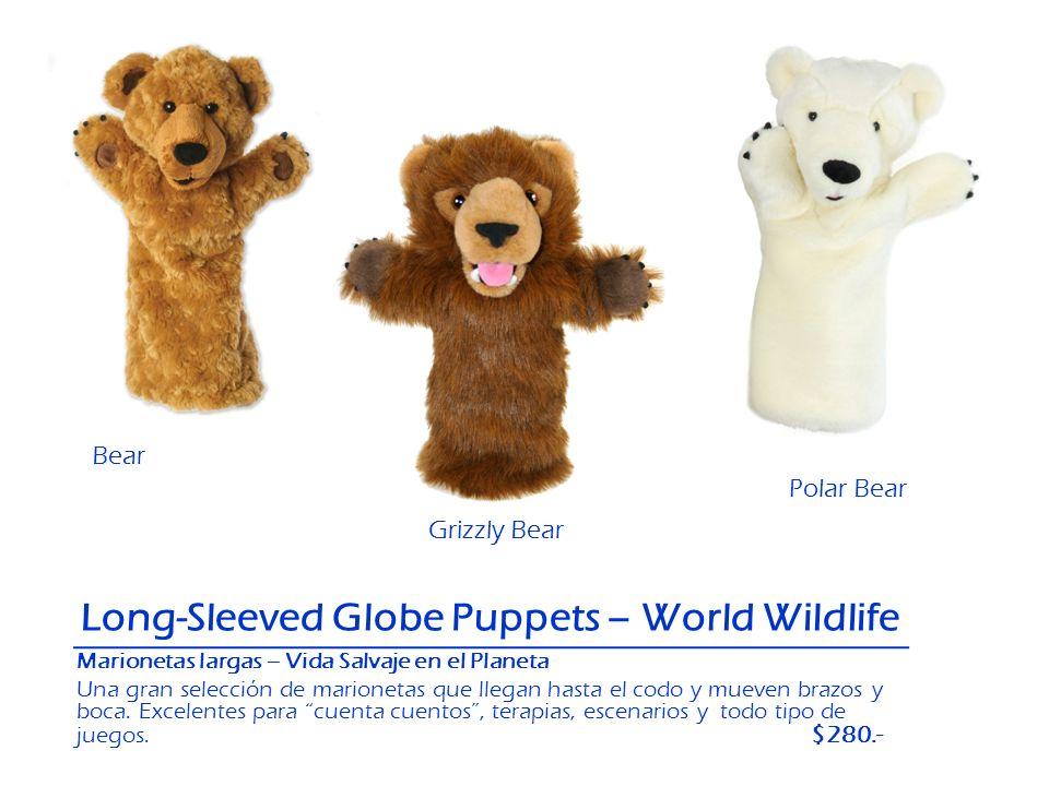 Polar Bear Grizzly Bear Bear Long-Sleeved Globe Puppets – World Wildlife Marionetas largas – Vida Salvaje en el Planeta Una gran selección de marionet